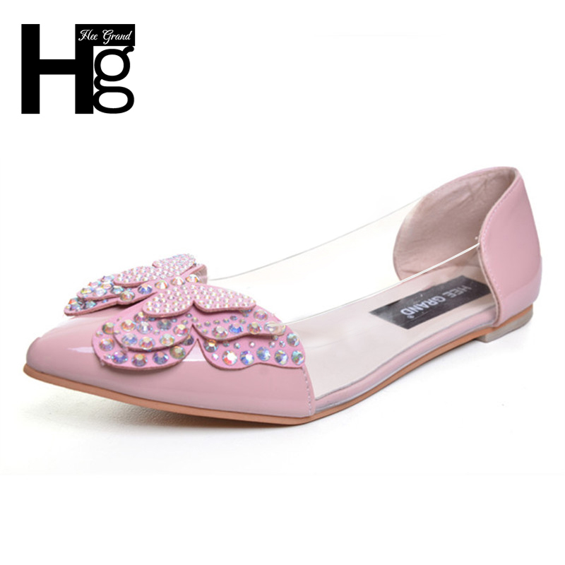 HEE GRAND Butterfly-knot Women's Ballet Flats 2017 New Fashion Pointed Toe Flat Shoes Woman Size 34-39 XWD4994 free shipping new chic metal pointed closed toe transparent shiny pointed ballet flat shoes women s shoes sjl167
