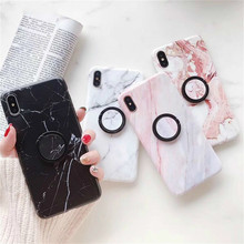 Marble Ring Buckle Holder Stand Phone Case For iPhone XR XS Max 6 6S 7 8 Plus Granite Stone Soft IMD Silicone Protect Cover