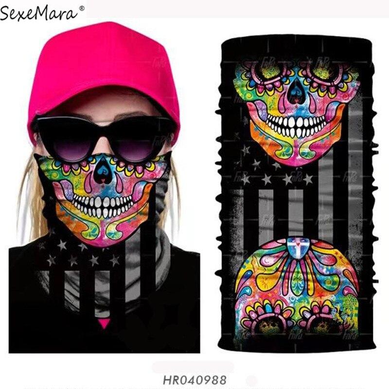 High Elastic Seamless Bandanas Over 900pcs Styles 3D Skull Scarves Bandana Mask Face Tube Neck Gaiter Shield Seamless Bandanas
