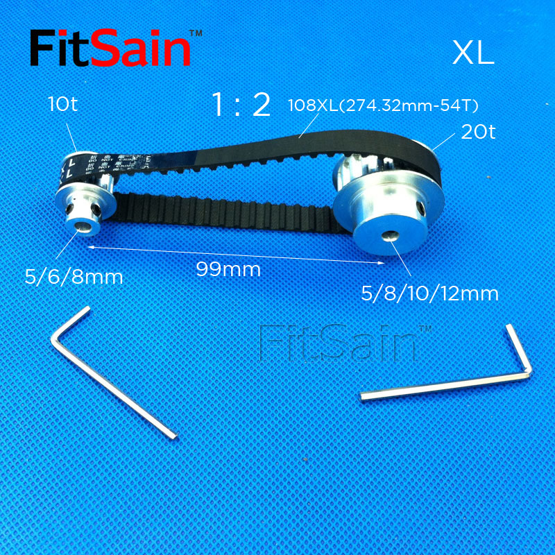 FitSain-XL 10 20 teeth aluminum alloy pulley 1 : 2 reduction ratio drive synchronous wheel center hole 5mm 6mm 8mm 10mm 12mm 4mm center hole gold tone alloy 1 2 external threading insert chip
