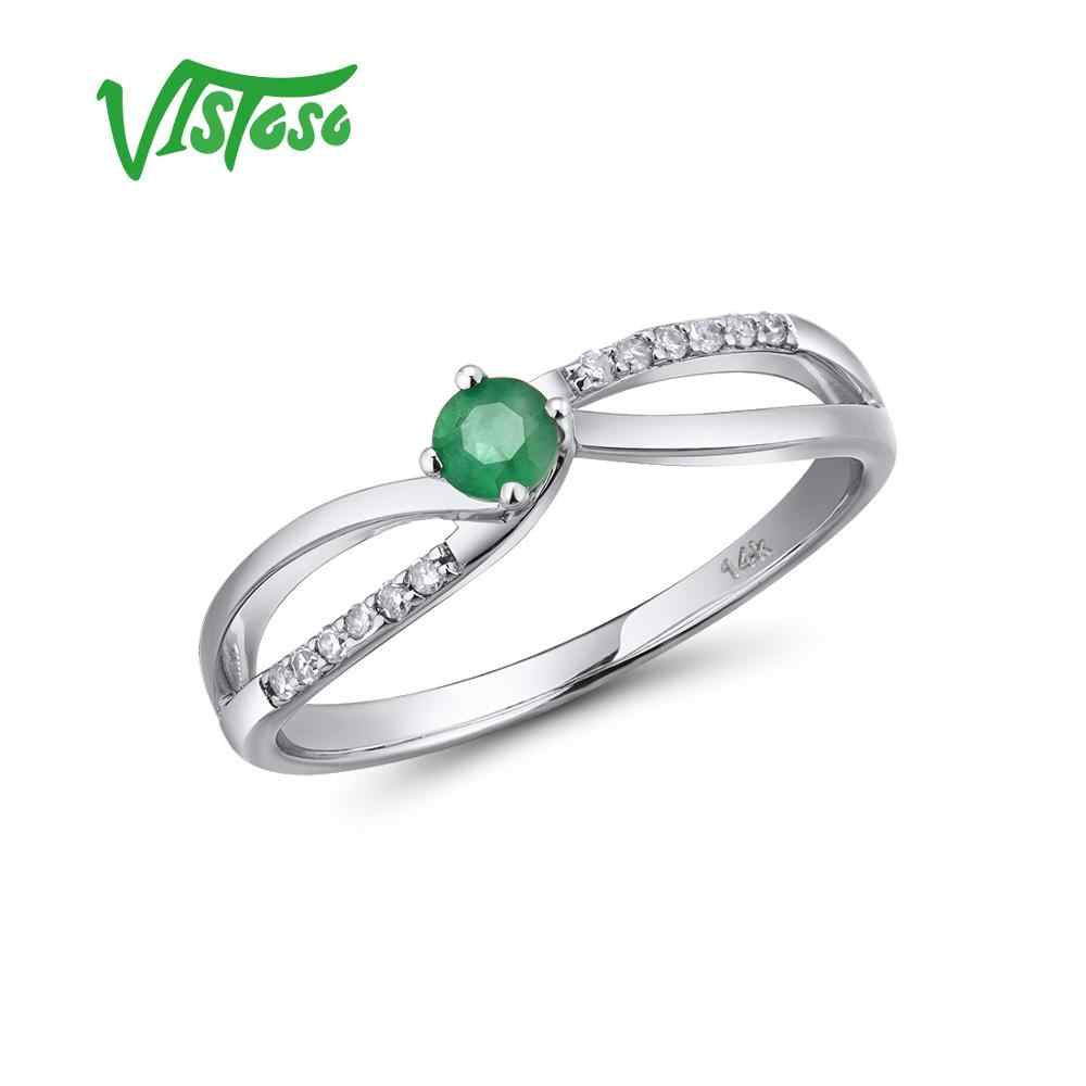 VISTOSO 14 K แหวนทองคำขาวสำหรับสุภาพสตรีของแท้เงาเพชรแฟนซีพลอยทับทิมมรกตหมั้นครบรอบ Chic เครื่องประดับ Fine
