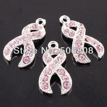 100PCS Silver Color Pink Crystal Rhinestone Ribbon Beads Breast Cancer Awareness Dangle Pendant European Beads Charms Findings
