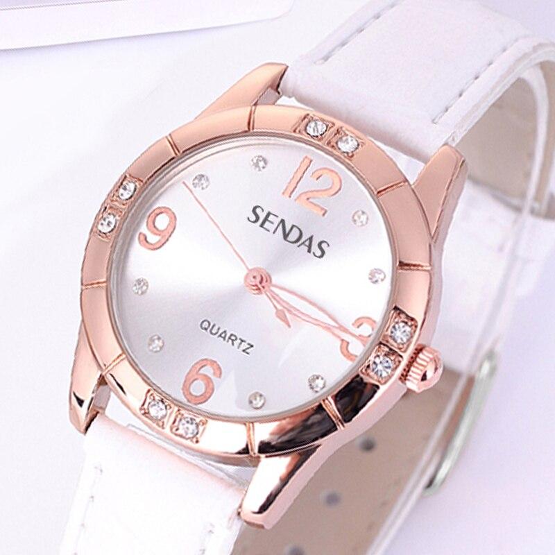 Enviar como nuevo oro rosa cuarzo relojes moda marca impermeable relojes femeninos lujo pulsera reloj mujeres reloj