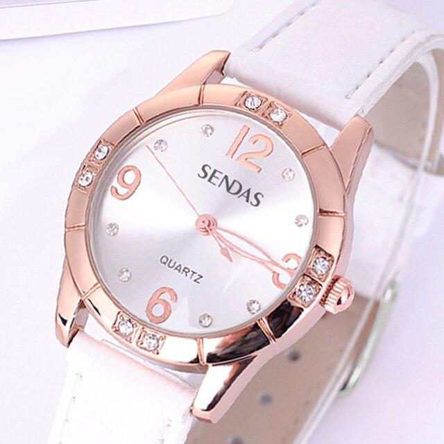 SENDAS New Rose Gold Quartz Watches Ladies Fashion Watch Brand Waterproof Female