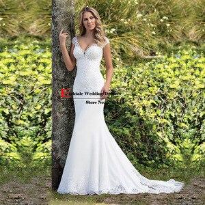 Image 3 - Eightale Boho Wedding Dress Appliques Lace Wedding Gown Custom made Spadex Chiffon Cap Sleeves V Neck Mermaid Bridal Dresses