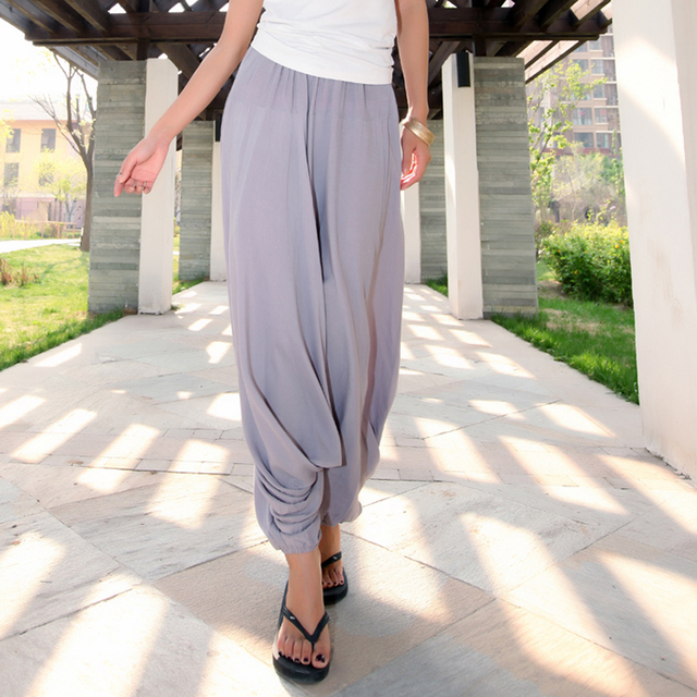 Women Pants Large Size Cross Pants Wide Leg trousers Plus Size Dancing Pants Bloomer Casual Trousers Linen Cotton Solid Color