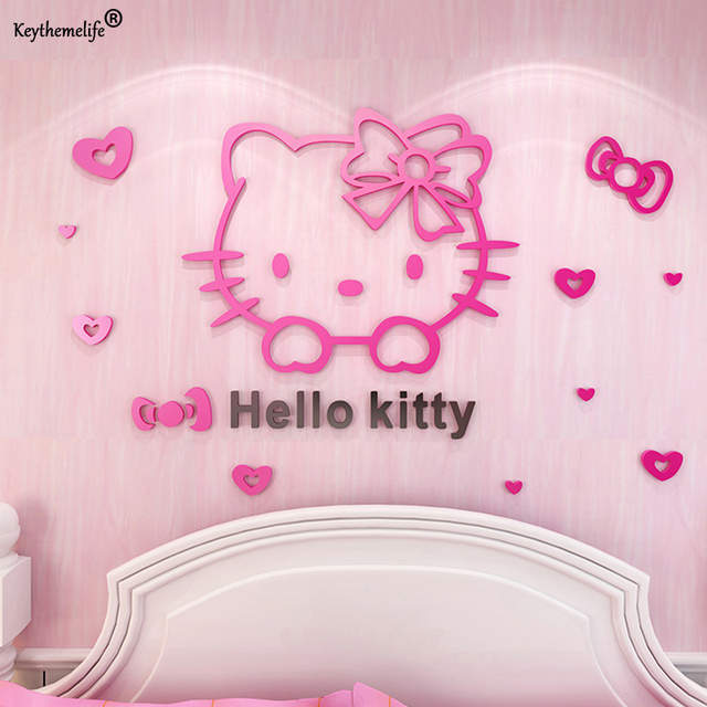 Us 6 38 30 Off Cartoon Hello Kitty Diy Wall Stickers For Kids Rooms Bedrooms Acrylic Lovely Decals Sticker Home Decoration D In Wall Stickers From