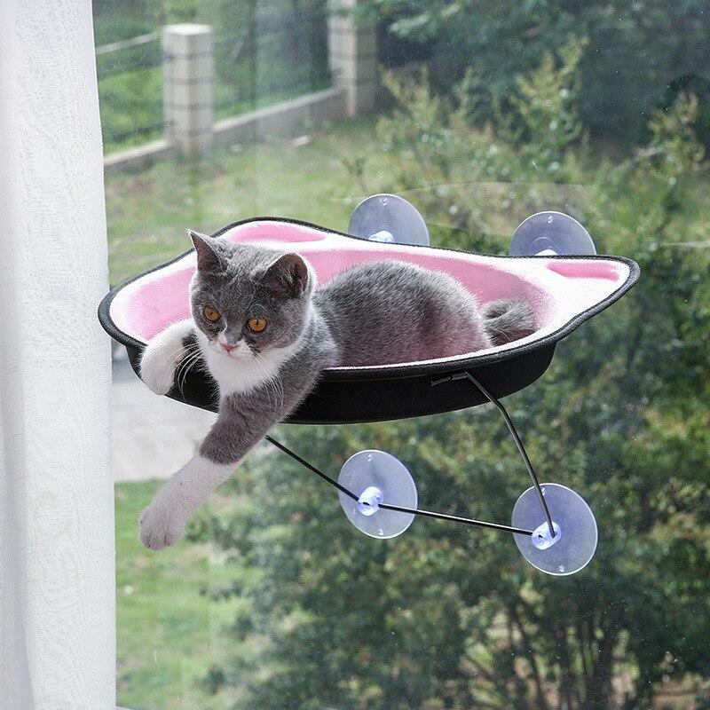 Grande taille chat litière fainéant chat hamac lit mont fenêtre chat fainéant ventouse chaud lit pour animal chat maison doux confortable lit