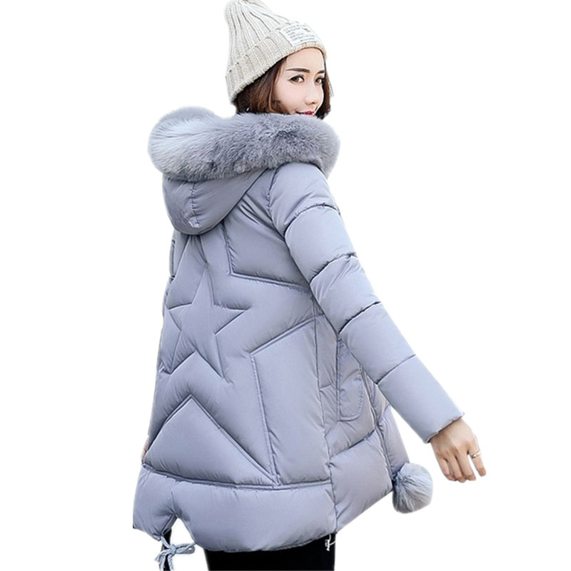 Womens Winter Jackets Fake Fur A-Line Coats Thick Warm Hooded Cotton Padded   Parkas   For Women Jacket Female Manteau Femme MZ1541