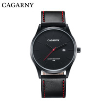 Hot selling luxury brand women men casual leather strap calendar waterproof quartz watches with high quality
