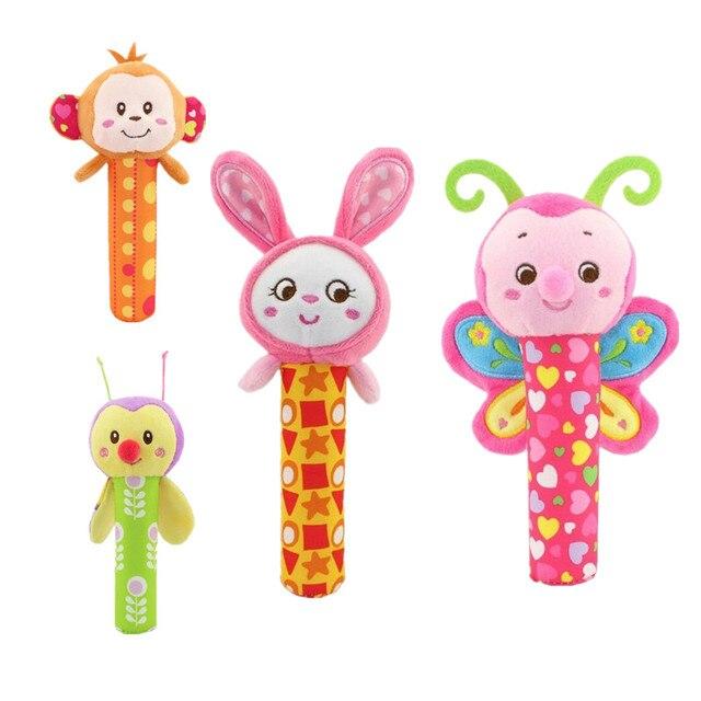 Tipos differnet haste aperto de mão Do Bebê brinquedos do bebê brinquedos, brinquedos educativos chocalho animais BB Vara Brinquedo Sino de Mão 20% de Desconto