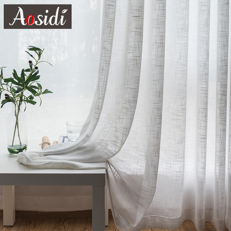White Linen Tulle Curtains For Living Room Modem Sheer Curtains For Bedroom Ready Made Voile Curtains For Kitchen Window Binds