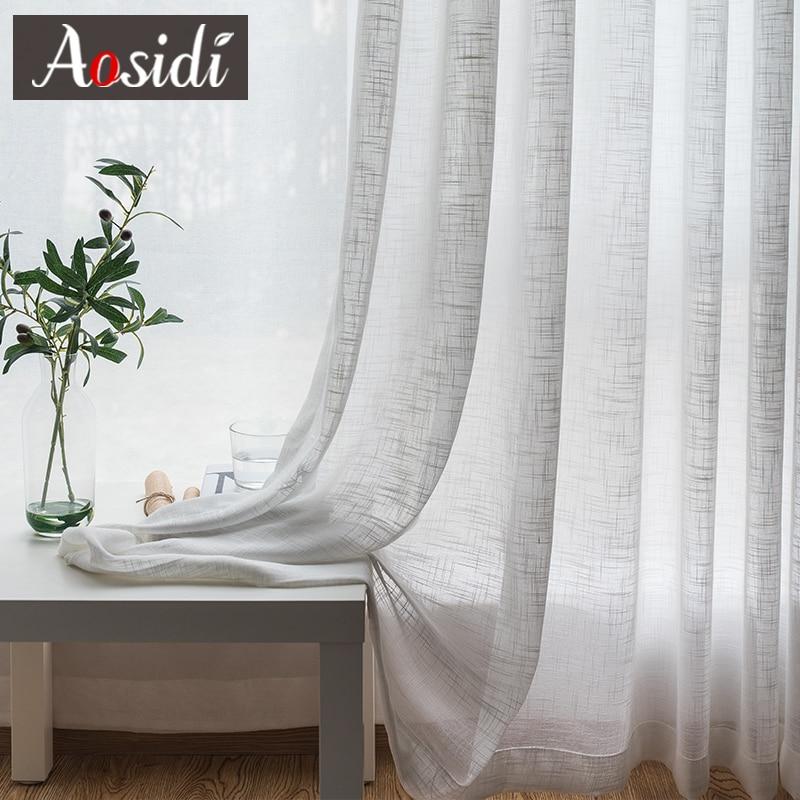 Baltas lina tilla aizkari dzīvojamā istabā Modem milzīgie aizkari - Mājas tekstils