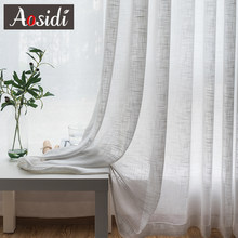 White linen tulle curtains for living room Modem sheer curtains for bedroom Ready made voile curtains for kitchen window binds(China)