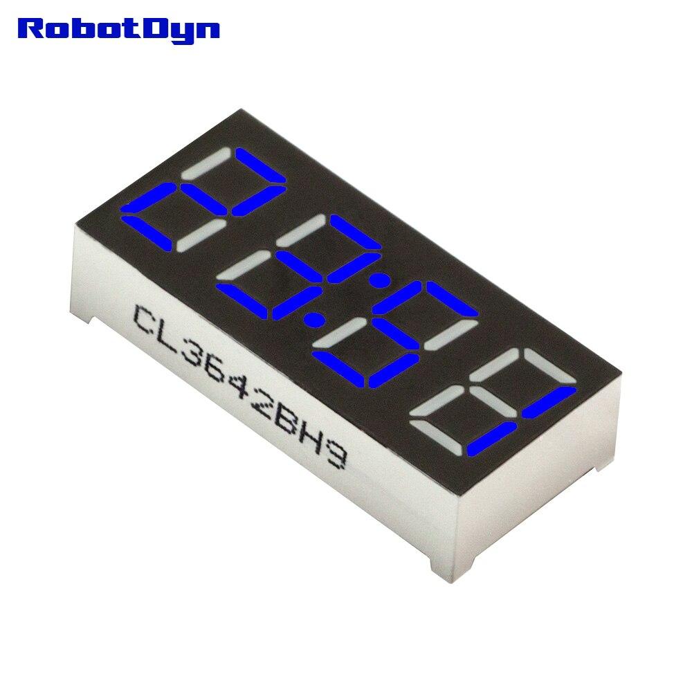 5 шт. = 4-цифра 7-сегментов светодиодный Дисплей, doubledot/часы, синий, disp. Размер 30x14 мм, 0.36