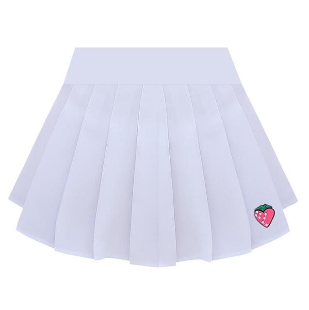 2018 autumn and winter new women's pleated skirt strawberry embroidery high waist A word skirt 5