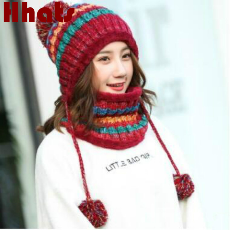 Winter Women's Hat Bib Set Knitted Warm Beanies With Three Pompom Ball Female Balaclava Multi Functional Hat Scarf Set