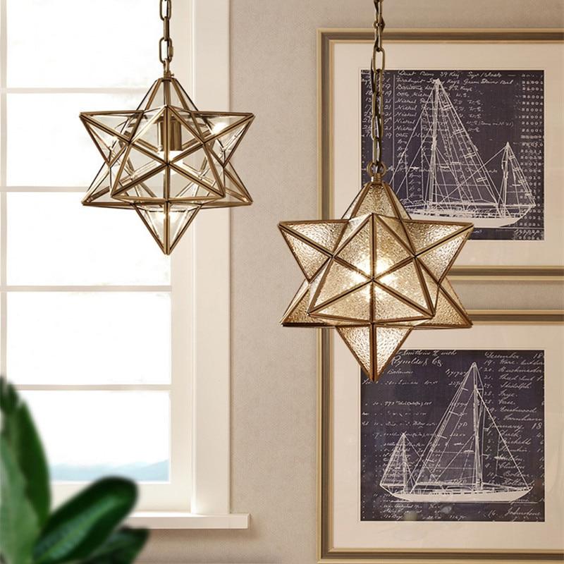 Nordic Art Star Glass Pendant Lights Art Geometric Retro Bronze Warm Bedroom Study Bars Cafe Aisle
