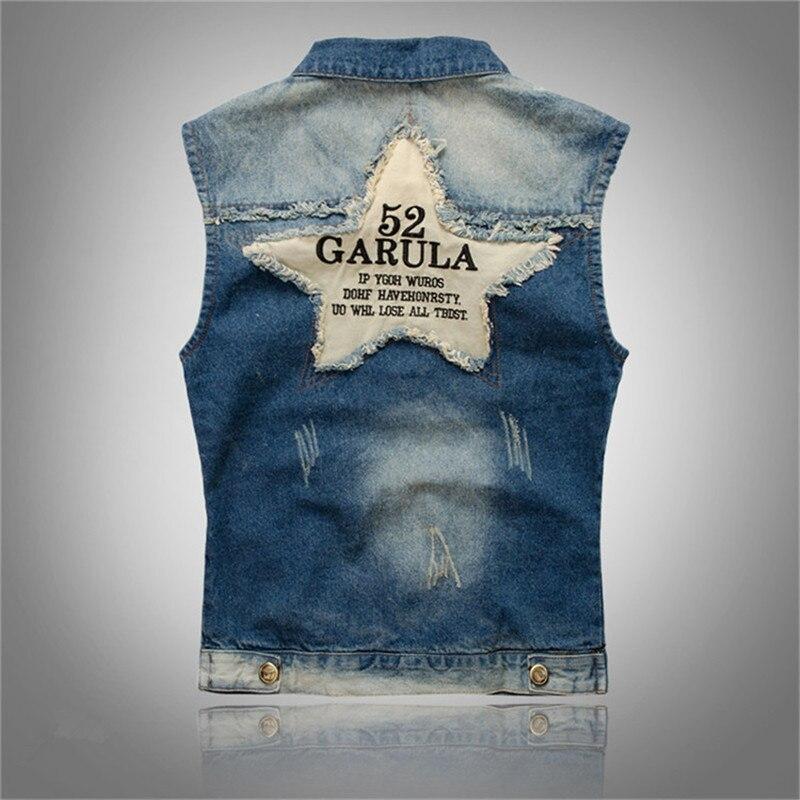 Mens Vintage Acid Wash Denim Jean Vest Jacket with Ripped M~2XL BLUE