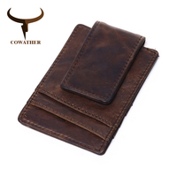 COWATHER Crzay Horse Leather Card ID Holders Top Cow Genuine Leather Wallets For Men Male Purse