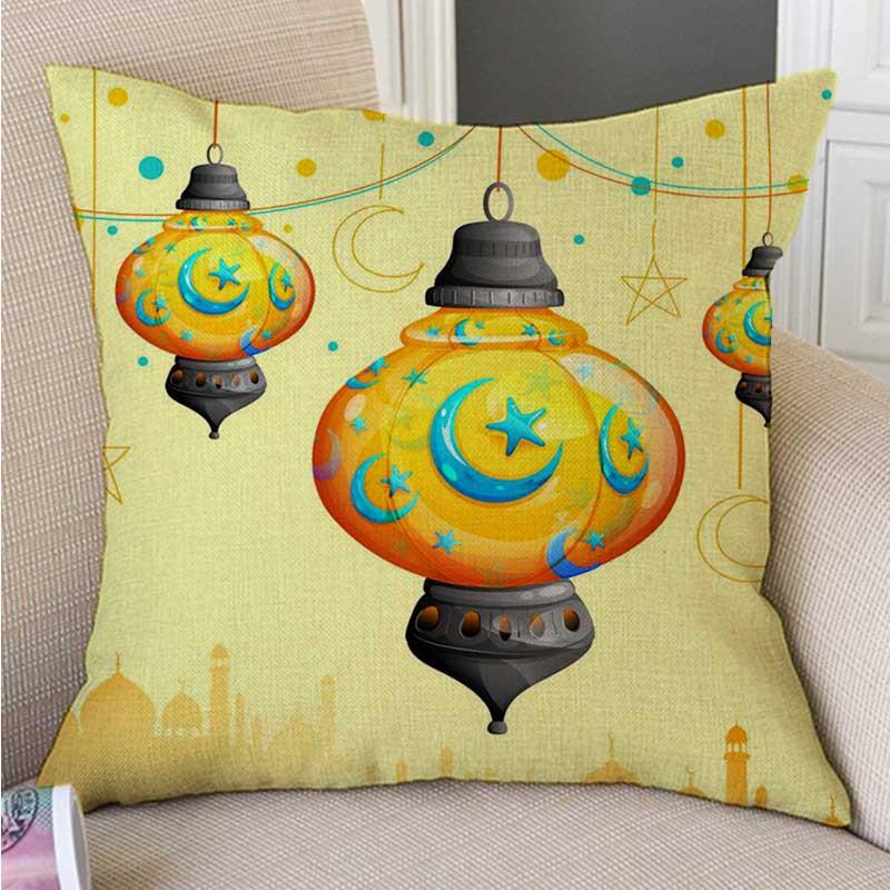 Muslim Islamic Lantern Watercolor Art Ramadan Decoration Sofa Throw Pillow Cover Cotton Linen Arab Home Decor Cushion Cover Case