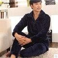 Мужские Зимние Пижамы Утолщение Фланель С Длинным рукавом Сплошной Цвет Pijama Мужчины Lounge Пижамы Установить 4XL Мужские Пижамы