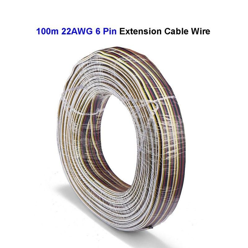6 broches 22AWG 100 m étamé cuivre fil électrique 5050 RGB CCT LED câble d'extension de contrôleur de lumière de bande pour connecteur SM JST