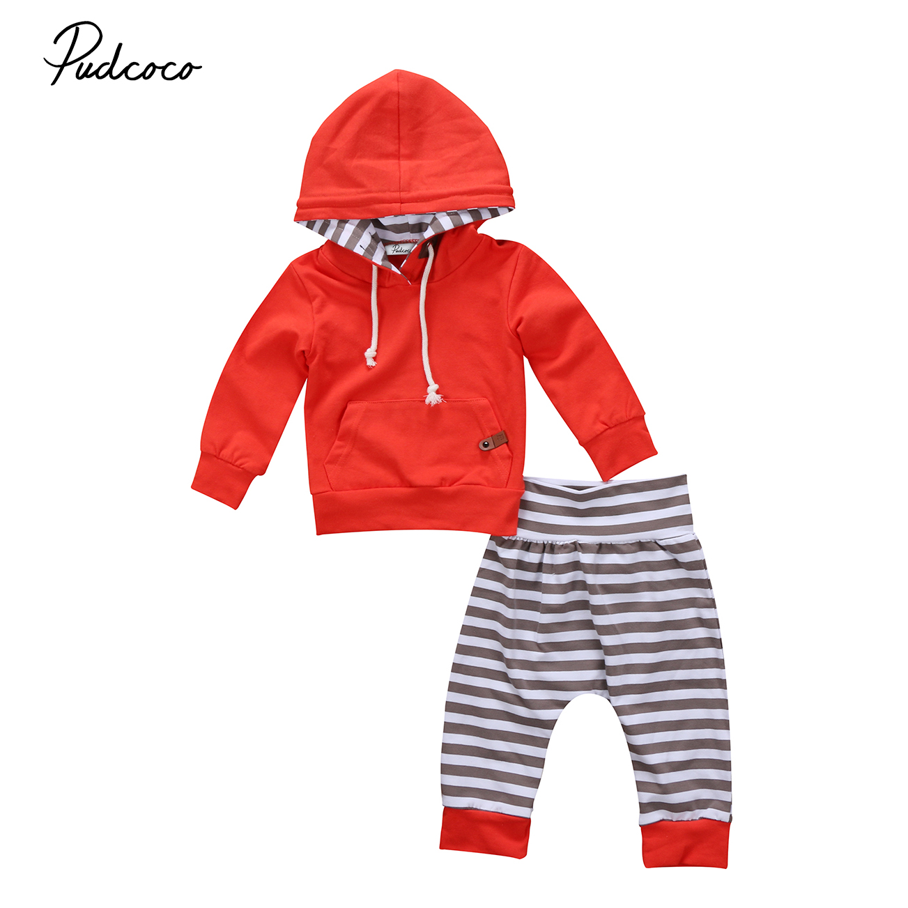 Pants Outfits 2Pcs Set Clothes Toddler Baby Boy Girl Striped Pocket Hoodie Tops