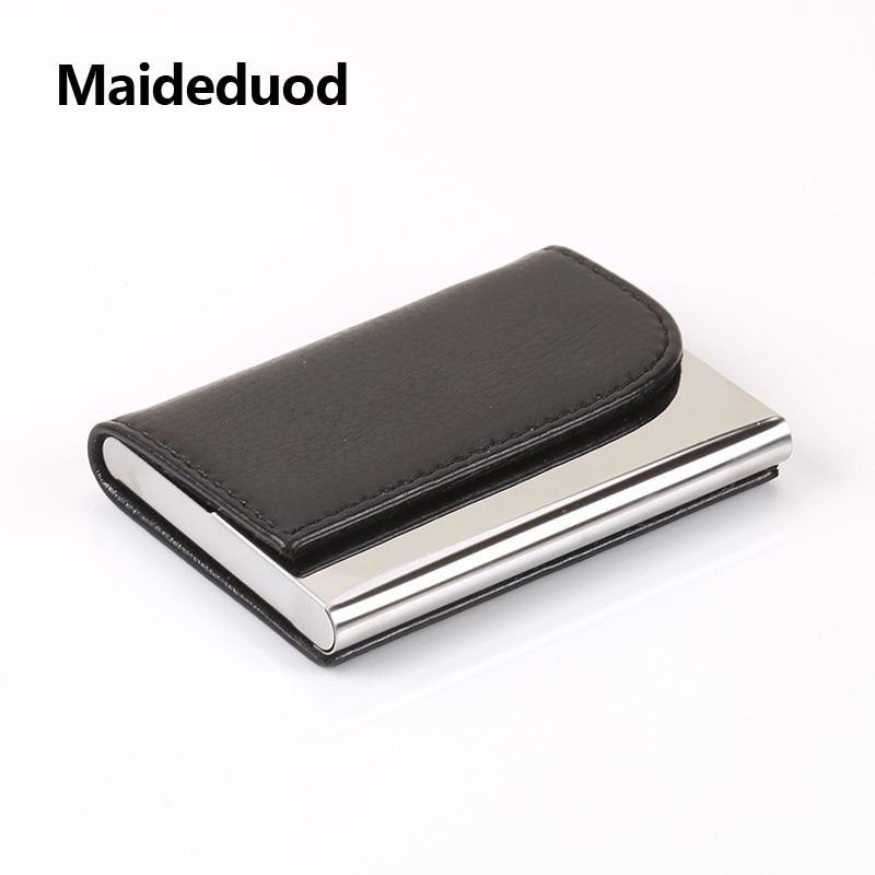 Maideduod Women And Men Business ID Credit Card Holder Fashion Brand Metal Aluminum Card Holder PU Leather Porte Carte ...
