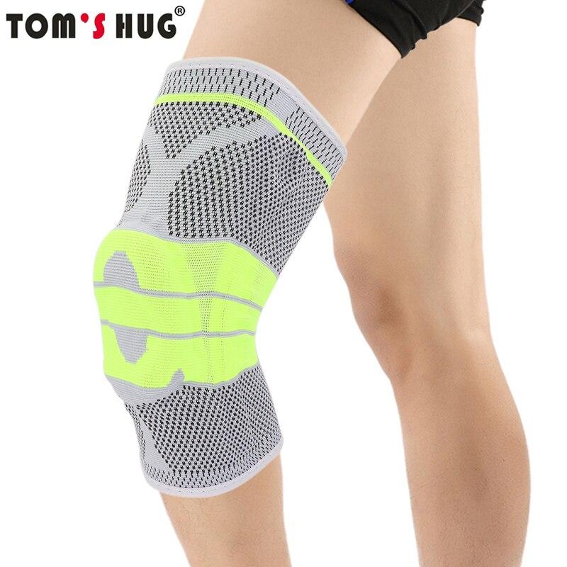 Tom der Umarmung Silicon Pad Frühling Unterstützung Knie Brace 1 stücke Bein Arthritis Verletzungen Gym Hülse Knie Pad Warm Grau grün Meniskus Kneepad