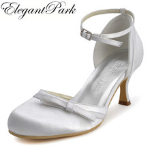 Ladies Shoes R001 Ivory White Round Toe Buckle Bow Med