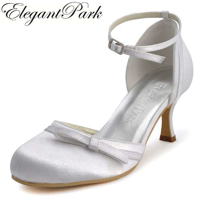 Ladies Shoes R001 Ivory White Round Toe Buckle Bow Med Heels Shoes Satin Women Bridal Wedding Pumps Evening Shoes Woman Shoes