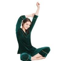 New Thin Soft Sleepwear Comfortable Pleuche High Quality Nightwear 2018 Autumn Winter Velour Female V Neck Pajama Homewear