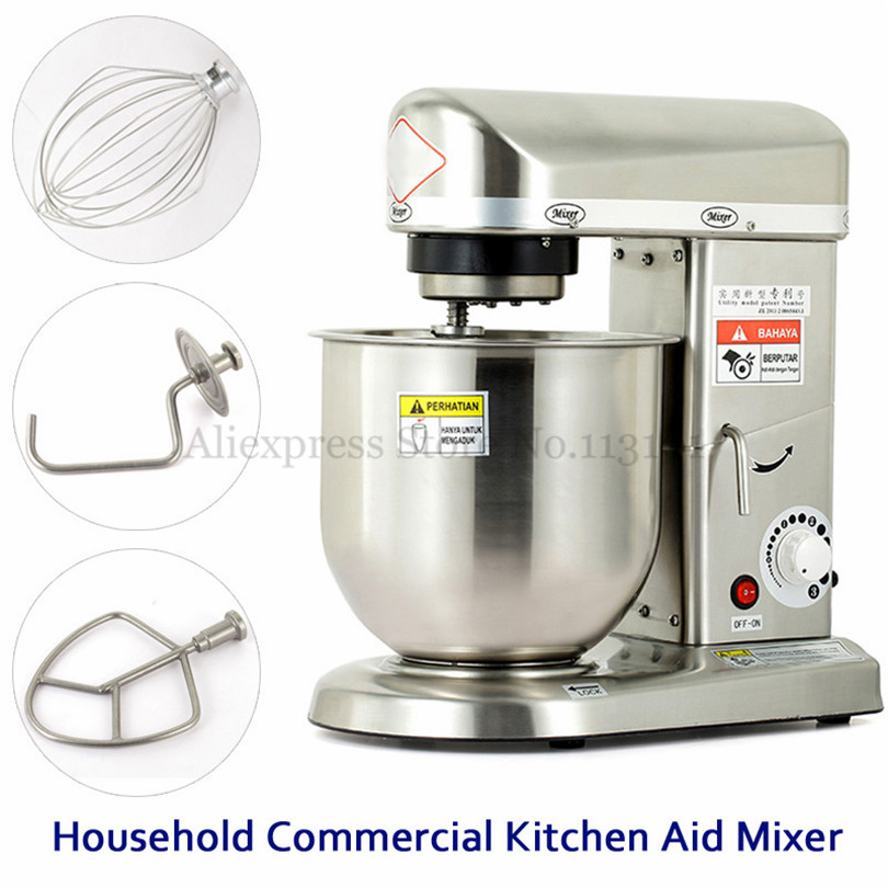 7L Electric Stand Food Mixer Household Commercial Dough Kneading Mixer Multifunction Durable Stainless Steel Body 220V~240V