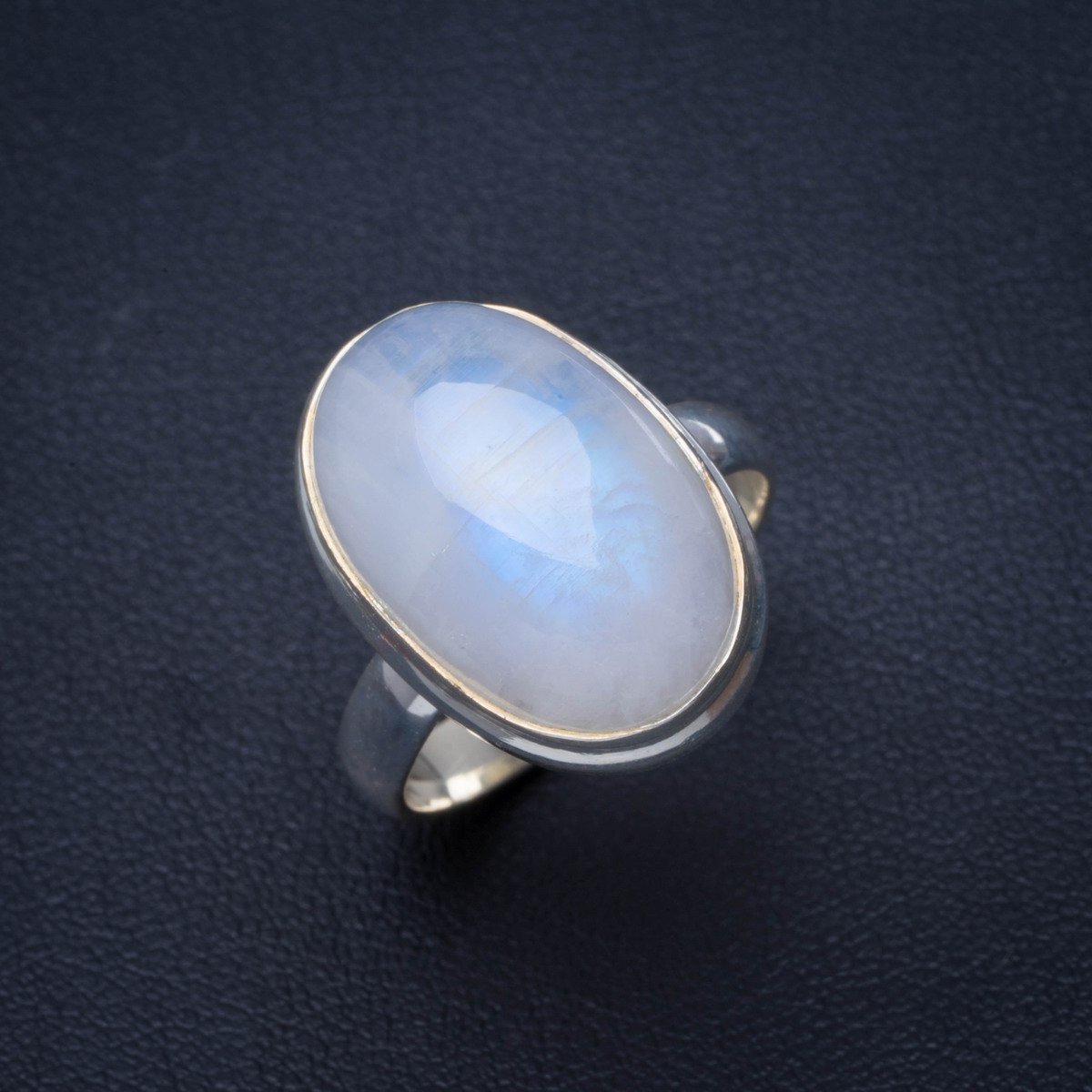 Natural Rainbow Moonstone Handmade Unique 925 Sterling Silver Ring 8 B1390Natural Rainbow Moonstone Handmade Unique 925 Sterling Silver Ring 8 B1390