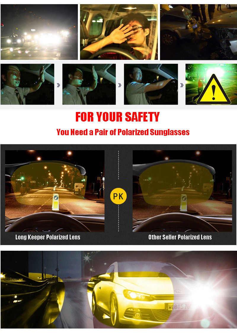 Longguard الرجال الاستقطاب النظارات الشمسية سائقي السيارات للرؤية الليلية نظارات شمسية مكافحة وهج المستقطب نظارات UV400 عدسات صفراء اللون