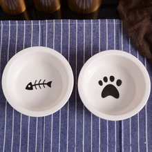 Ceramic Bowl Pet Food Supplies Cute Cat Water Basin Dog Pot Drinking Eat Round Feeders