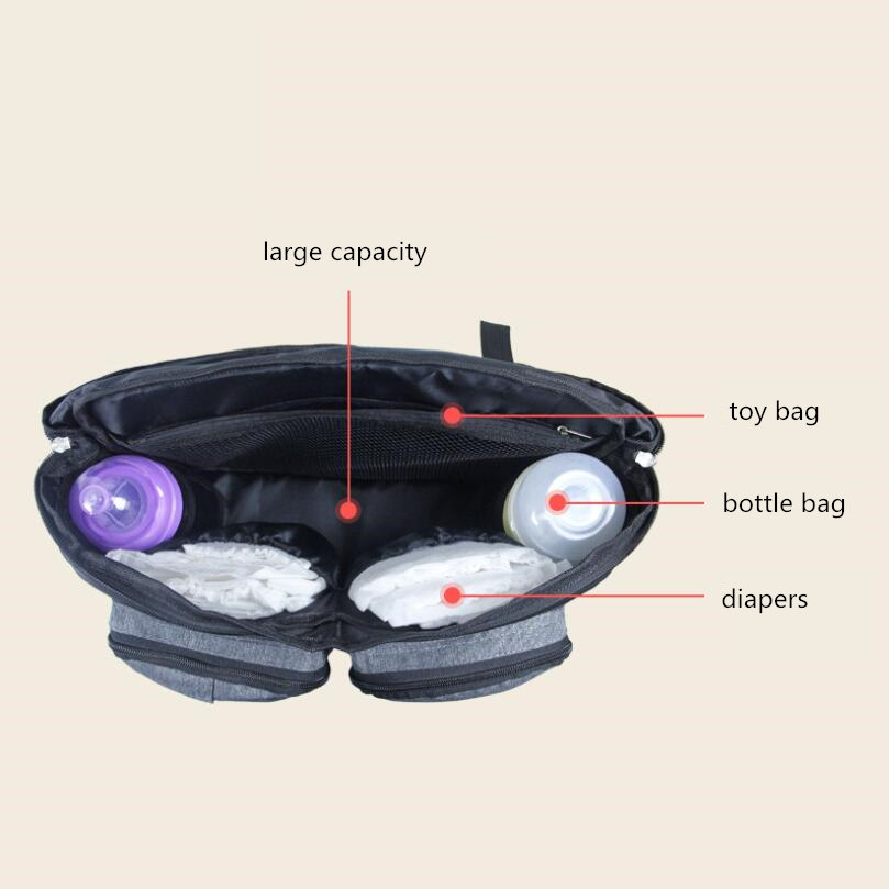 Image 3 - Baby Stroller Bag Diaper Bags Nappy Stroller Organizer Mom Travel Hanging Carriage Pram Buggy Cart Bottle Bag Stroller Accessori-in Diaper Bags from Mother & Kids