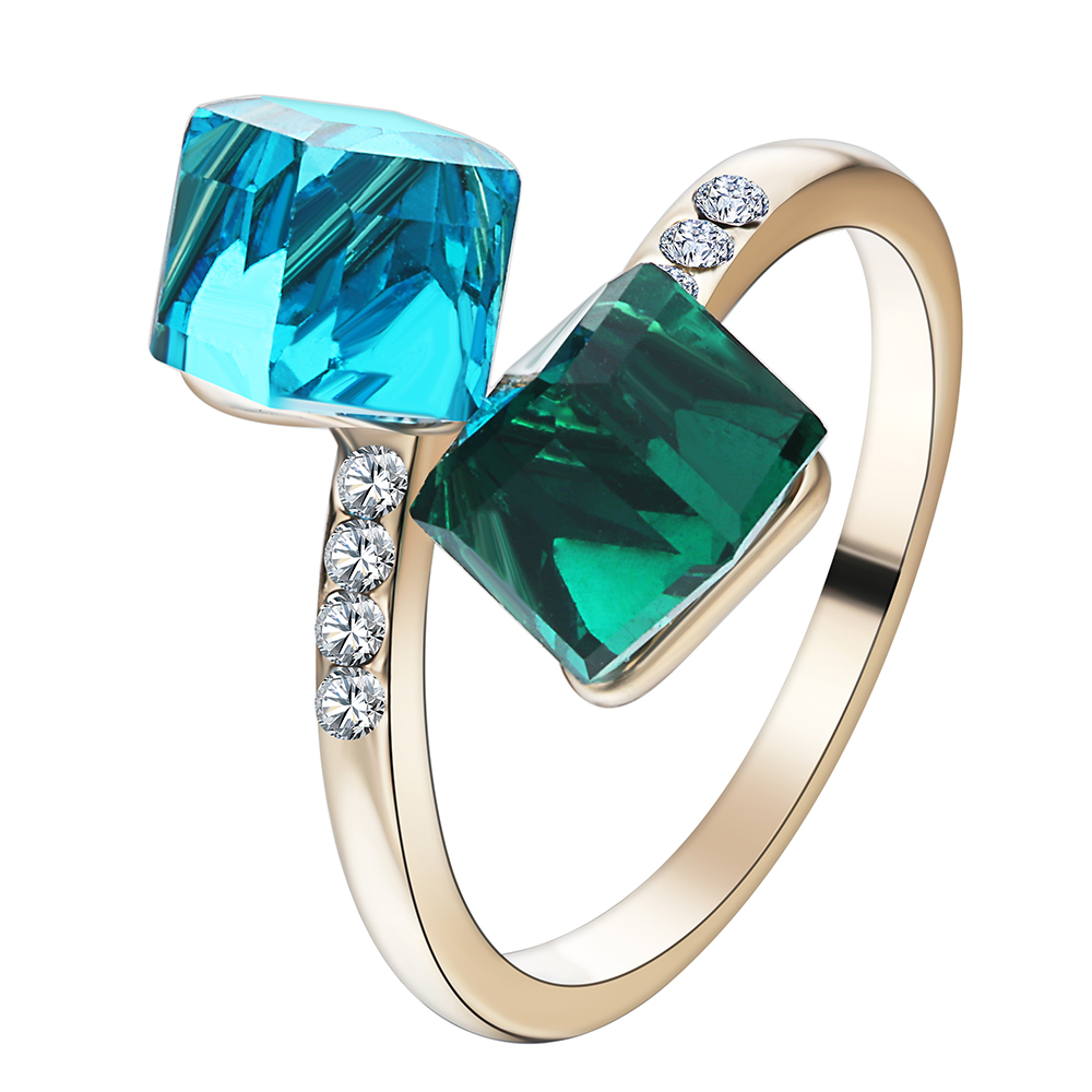 2017 cheap Fashion women finger Rings with green blue cubic square crystal rhinestone white wedding Engagement Rings for Gift