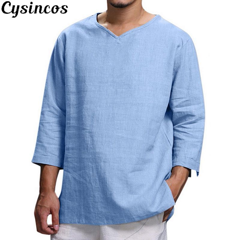 CYSINCOS Men's Casual Blouse Cotton Linen Shirt Loose Long Sleeve Solid Tee Shirt Plus Size Breathable Camisa Masculina Shirt
