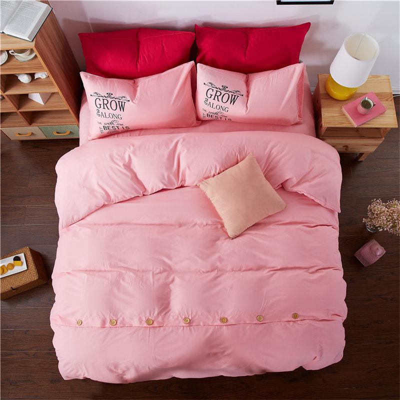 Bedding set Pink Princess Button Nevresim takimlari Parure de lit adulte Pure King roupas de cama Whilt Single double XHS0046
