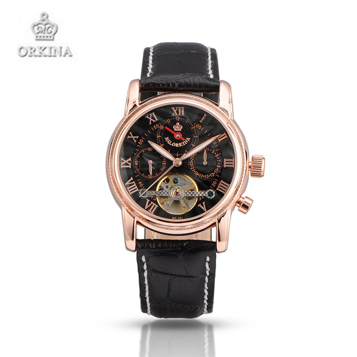 ORKINA Mechanical Watch Men Automatic Self wind Wristwatches Leather Luxury Brand Business Watches for Men Black