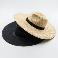 Muchique Güneş Şapka X Büyük Ağız Buğday Straw Panama Fedora şapka Yaz Hasır Şapkalar Kadınlar için Disket şapka ile Şerit yay