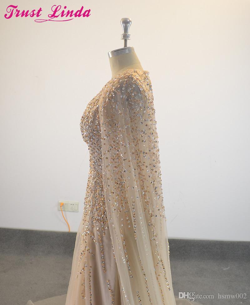 Robes de soirée formelles élégantes perles de cristal tige de selle Cape robe de soirée tenue de soirée - 3