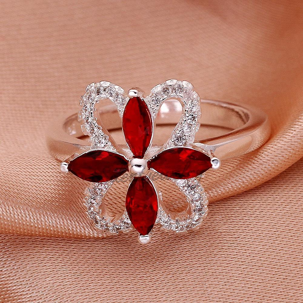 free shipping Charming Flower Shaped Ruby Bulk Stock Ladies ...