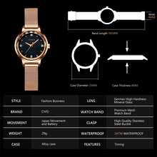 CIVO Fashion Luxury Watches Women Blue Face Quartz Watch Lady Mesh Watchband Casual Waterproof Wristwatches Gift For Wife 2019