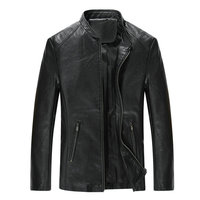 drop shipping new autumn men leather jacket and coat fashion stand collar solid pu outwear AXP195