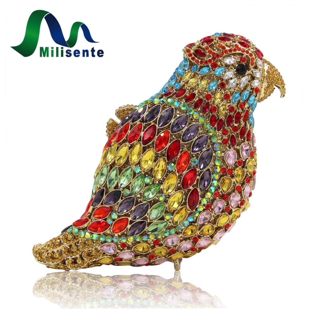 Milisente Loro de Cristal Bolso de Noche Multi Oro Pájaro Bolso de Lujo de la Se
