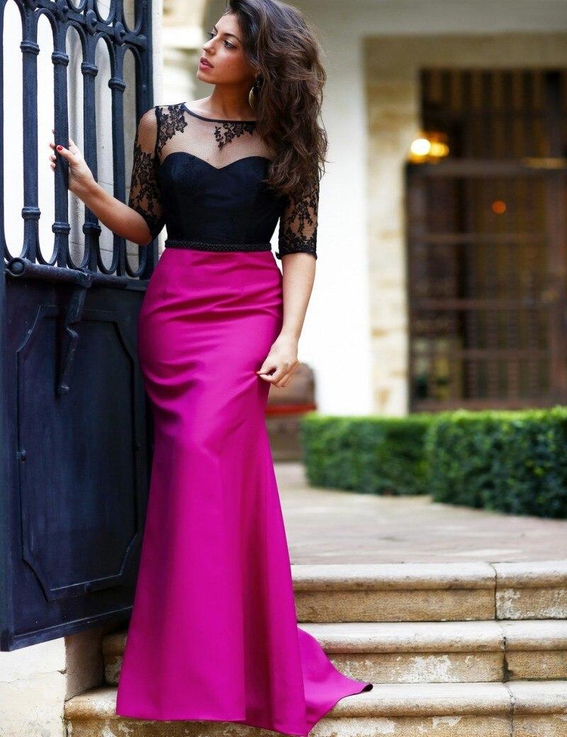 Vestido De Festa Longo 2016 nueva Hot Pink negro Top De encaje media ...