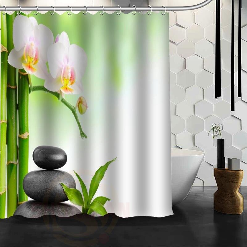 Personalizado Cortina de ducha de la Piedra del Zen poliéster Telas personalizar más tamaño baño Cortinas de ducha envío libre l8273